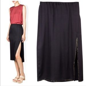 NWT silk Theory Livny E Black Drapey Satin Skirt